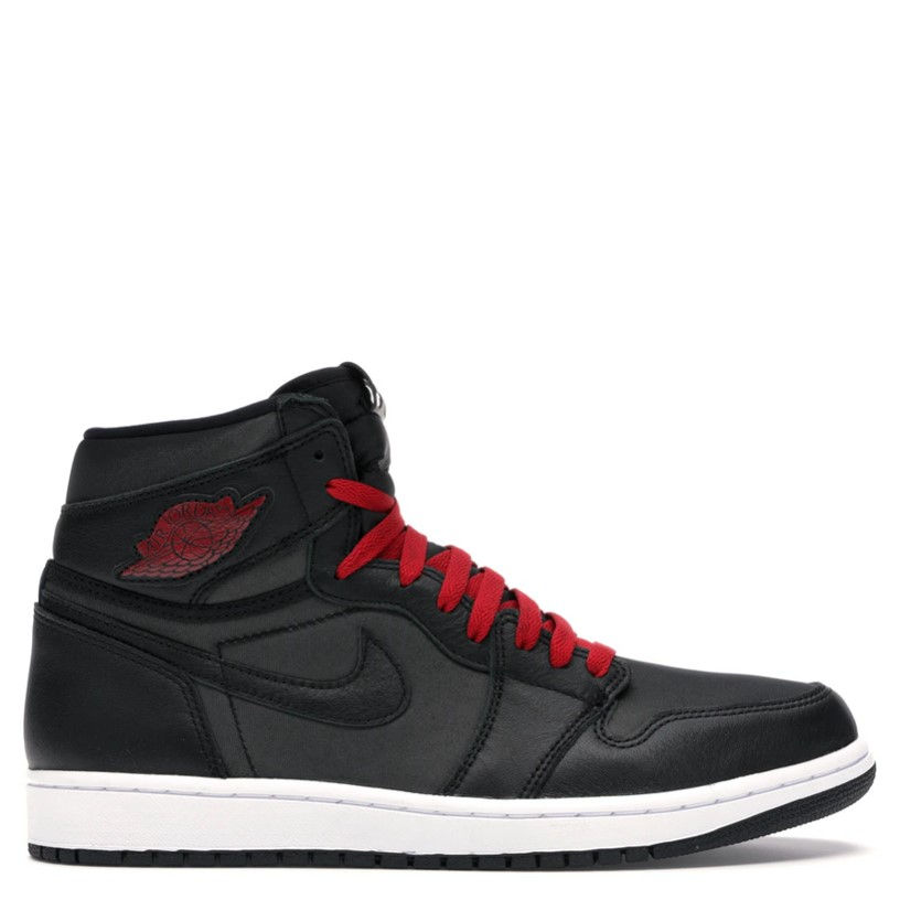 Rent Jordan 1 Retro High Black Satin Gym Red sneaker